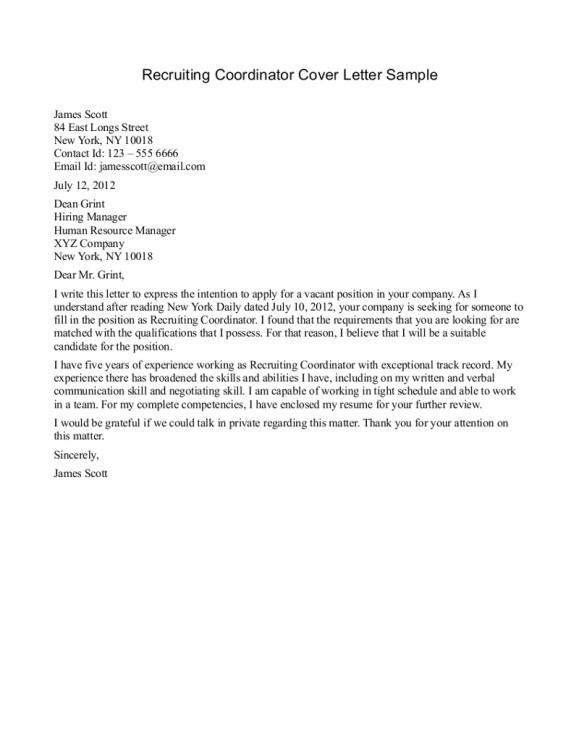 brilliant and also interesting sample cover letter for recruiter position