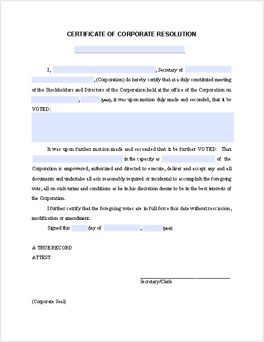 Corporate Resolution Authorized Signers Template Certificate Of Corporate Resolution Free Fillable Pdf