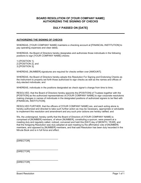 Corporate Resolution Authorized Signers Template Sample Corporate Resolution Identifying Authorized