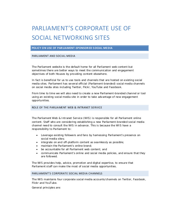 Corporate Responsibility Policy Template 8 social Media Policy Samples Sample Templates