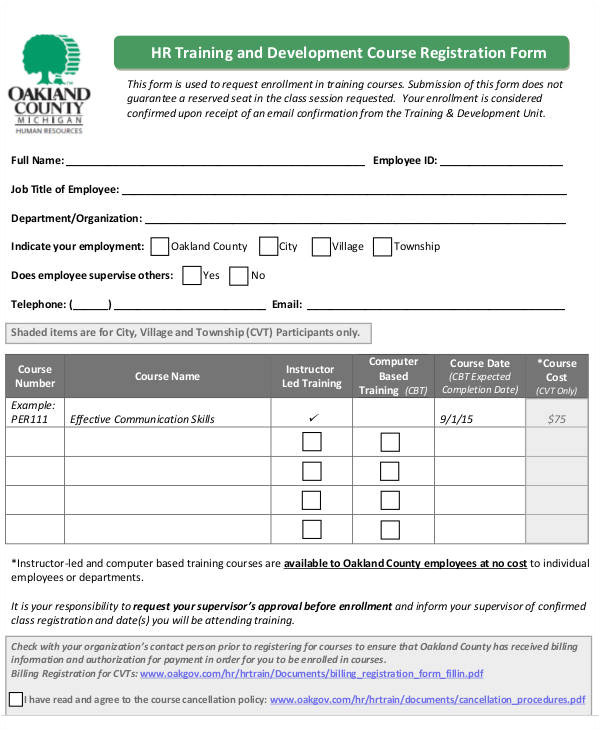 Course Enrolment form Template 51 Registration forms In Pdf Sample Templates