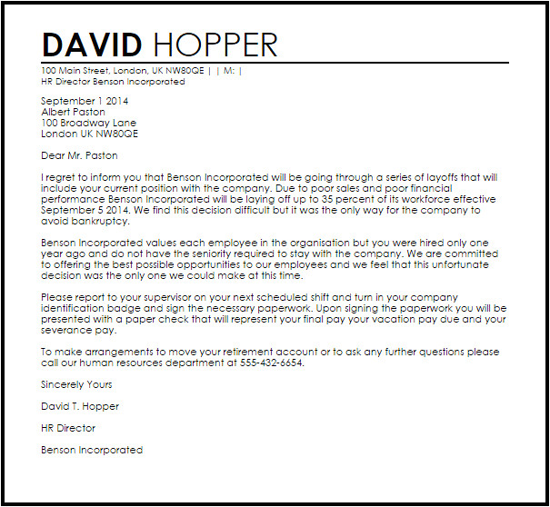Cover Letter after Being Laid Off Laying Off Employees Letter Ideal Vistalist Co
