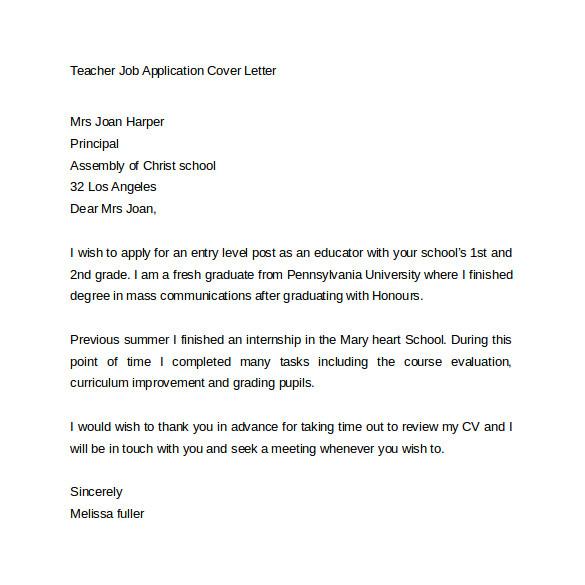 sample application cover letter template