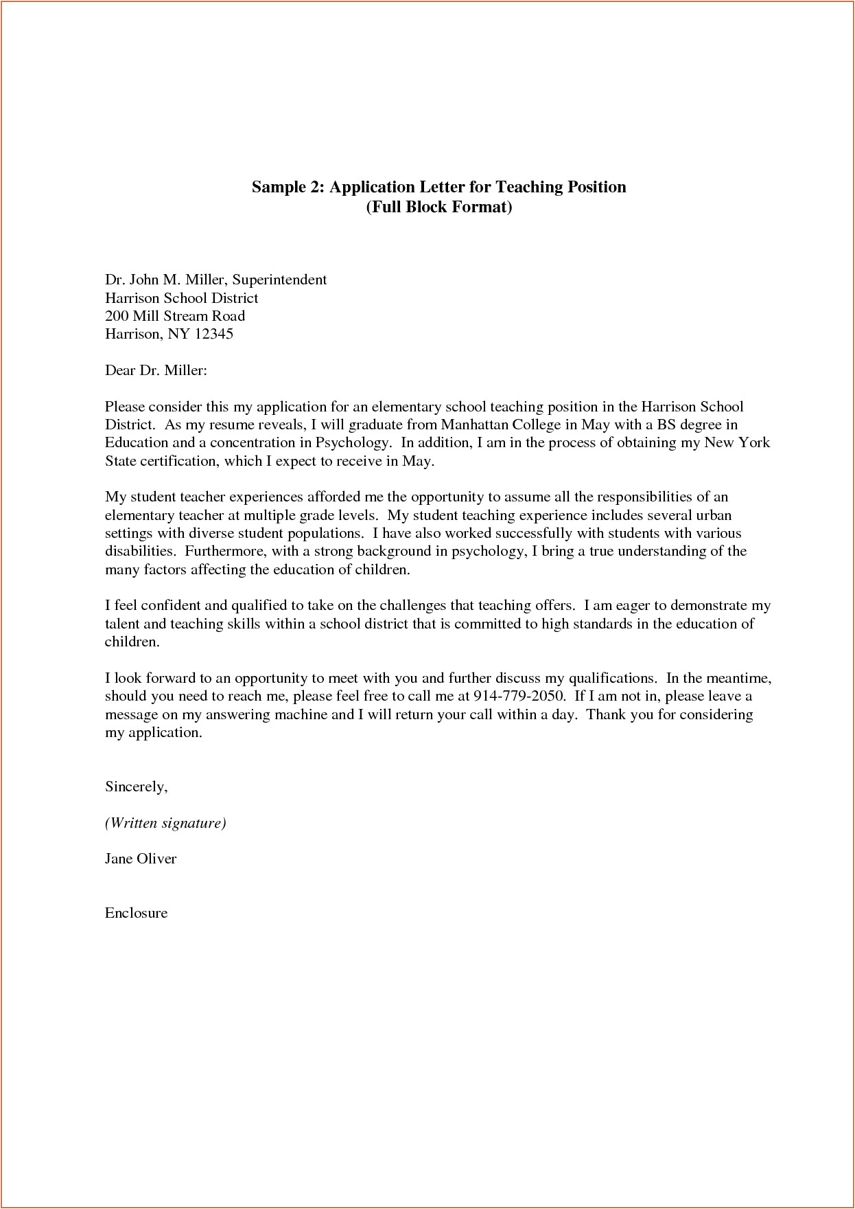 4794 letter application template for teaching job