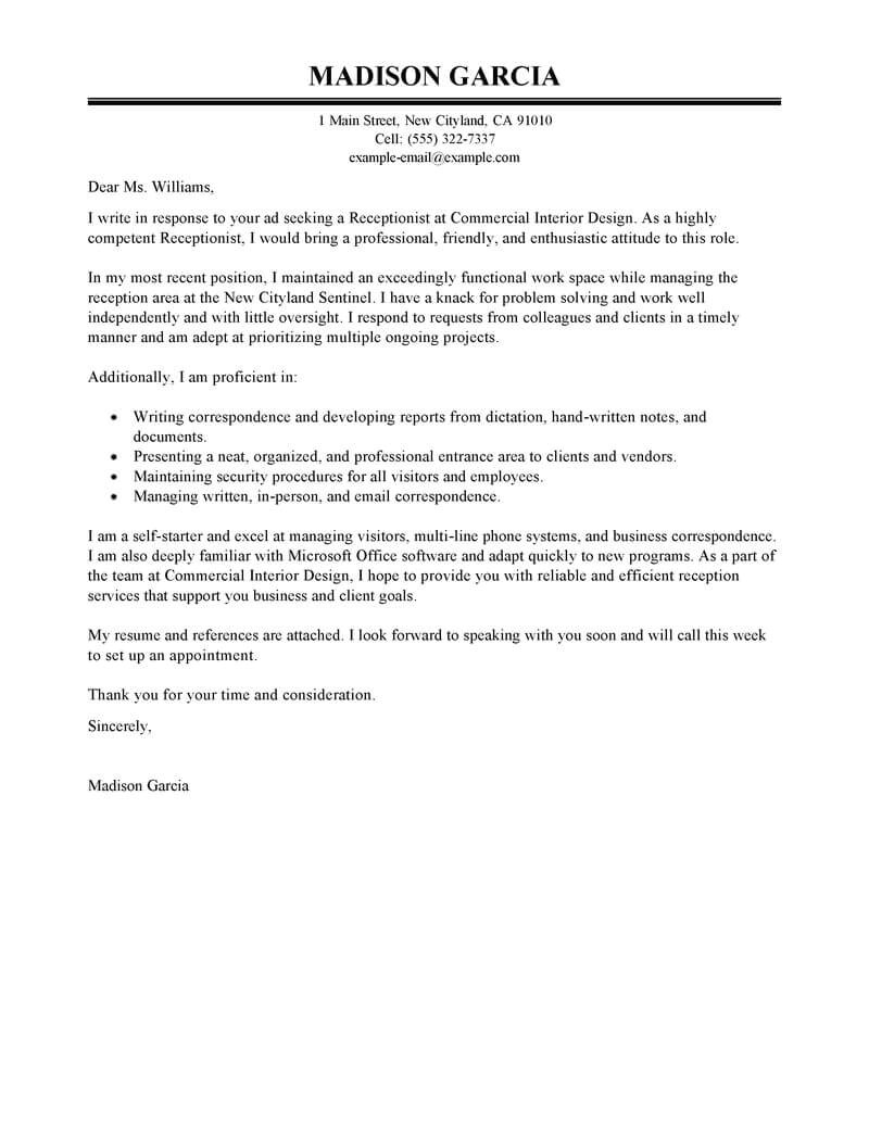 Cover Letter as A Receptionist Best Receptionist Cover Letter Examples Livecareer