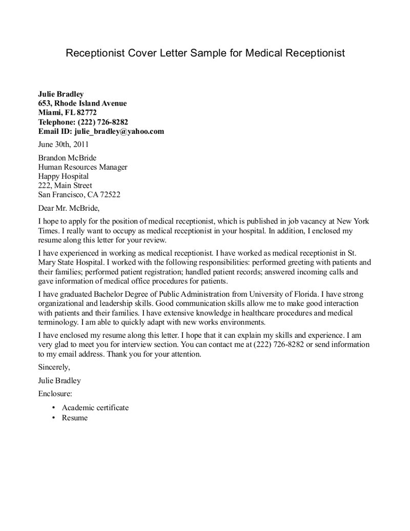 Cover Letter as Receptionist Medical Receptionist Cover Letter Sample Cover Letters