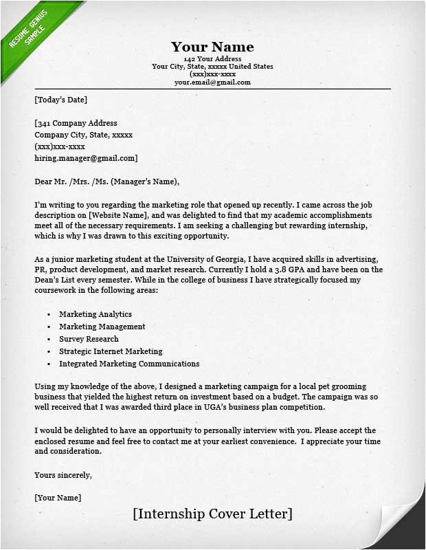 Cover Letter asking for Internship Internship Cover Letter Sample Resume Genius