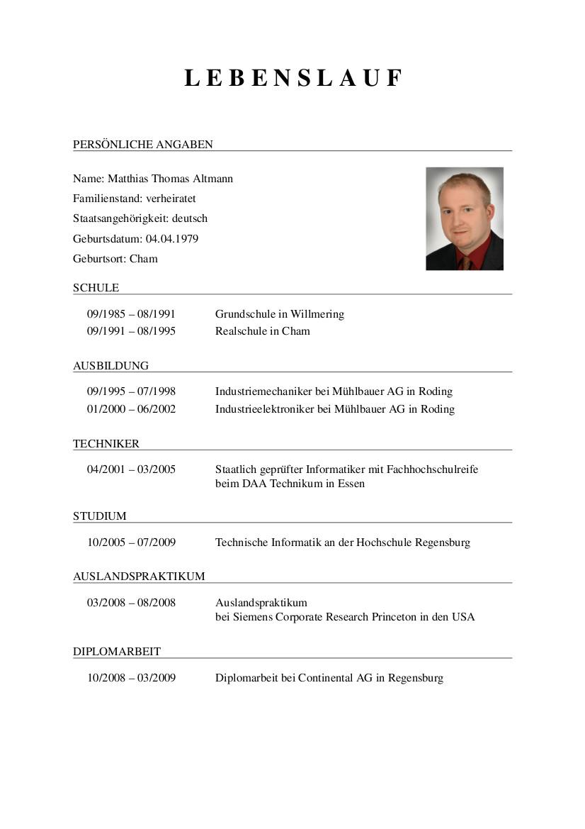 resume in deutsch