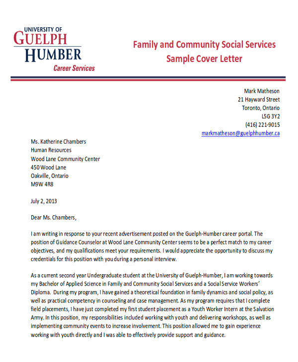 sample social worker cover letters