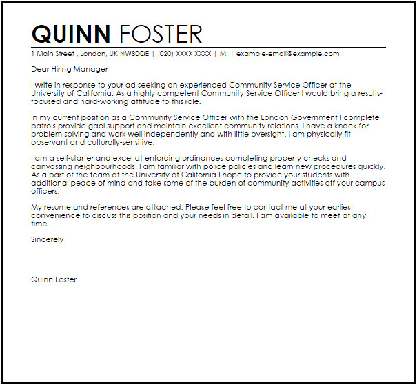 Cover Letter Community Services Community Service Officer Cover Letter Sample Cover