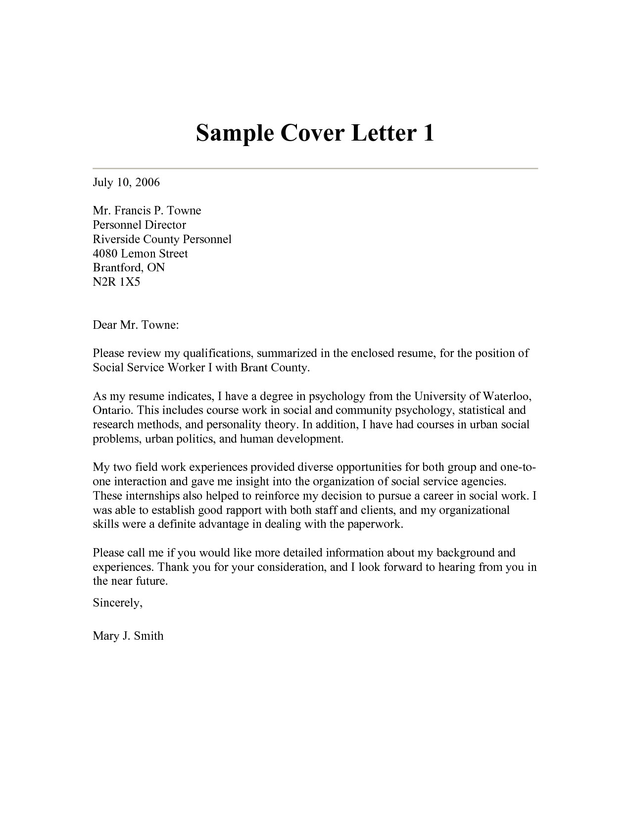 sample cover letter for director of social services