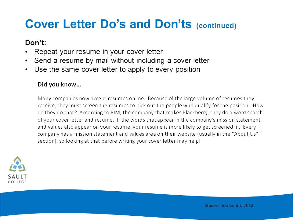 Cover Letter Dos and Donts Cover Letter Writing Ppt Video Online Download