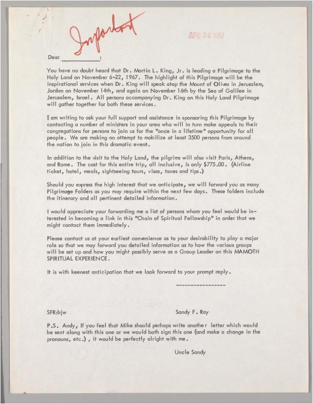 cover letter draft mlks 1967 pilgrimage holy land