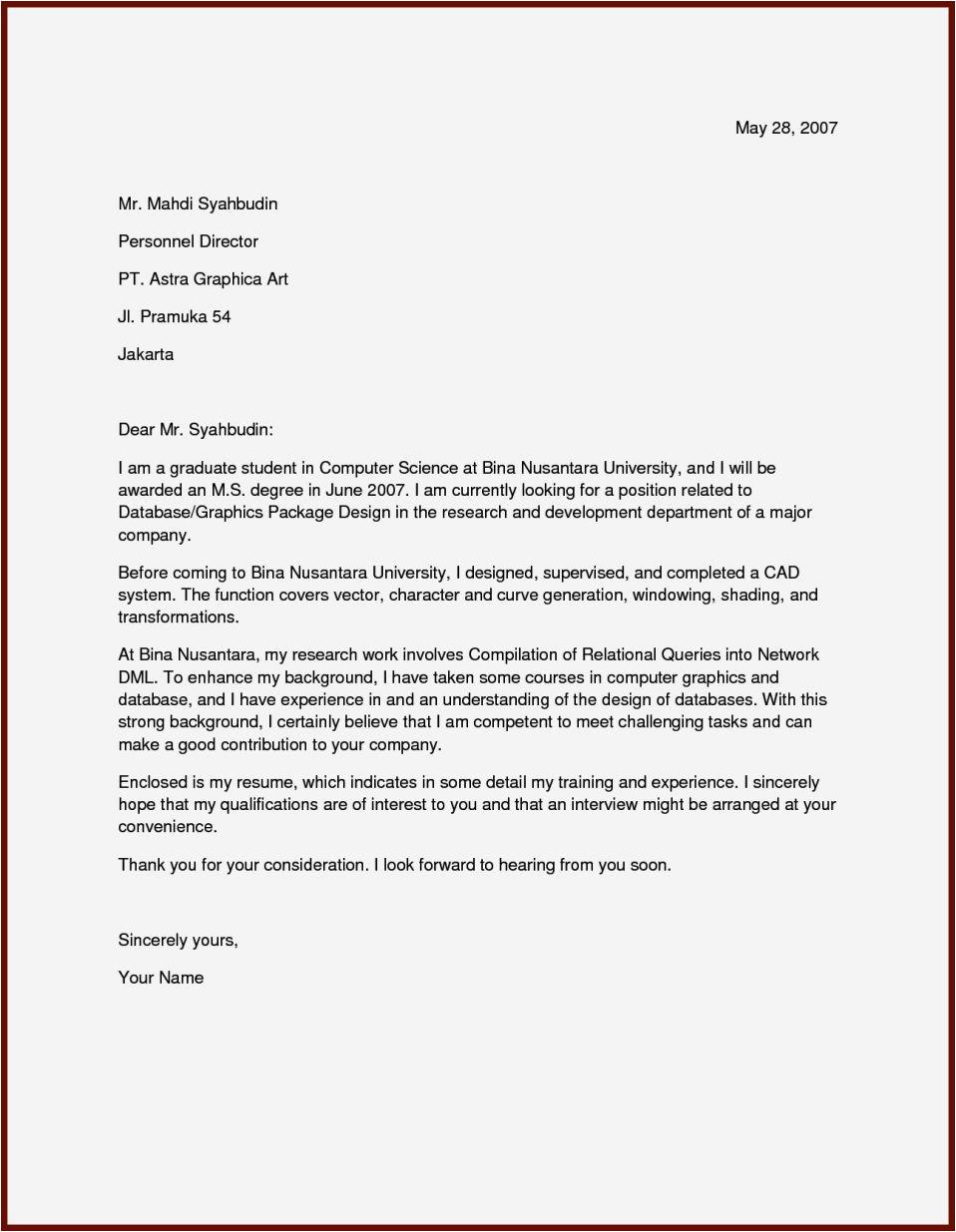 draft application letter for a job