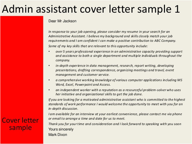 Cover Letter Examples for Administrative assistant Jobs Administrative assistant Cover Letters Sample