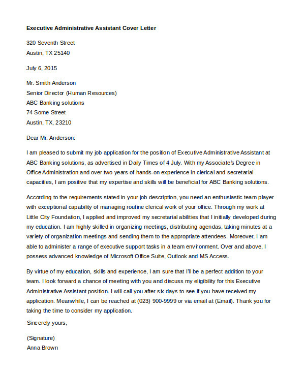 Cover Letter Examples for Administrative assistant Positions Administrative assistant Cover Letter 8 Free Word Pdf