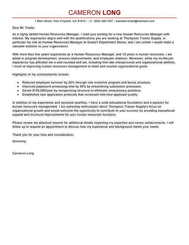 Cover Letter Examples for Human Resources Position Best Human Resources Manager Cover Letter Examples