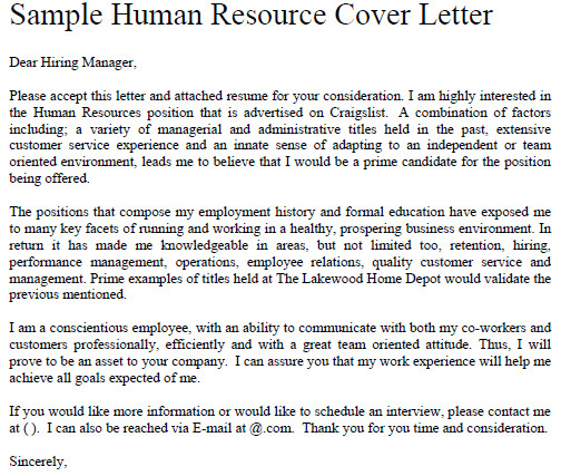 cover letter for human resource hr position