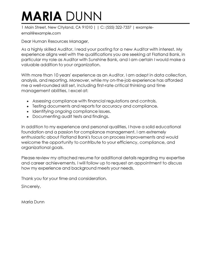 cover letter sample for human resources job