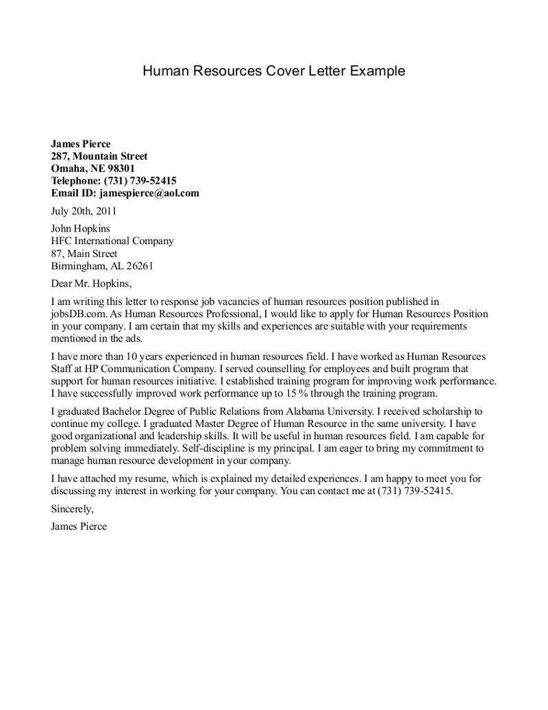 Cover Letter Examples for Human Resources Position Human Resource assistant Cover Letter the Letter Sample
