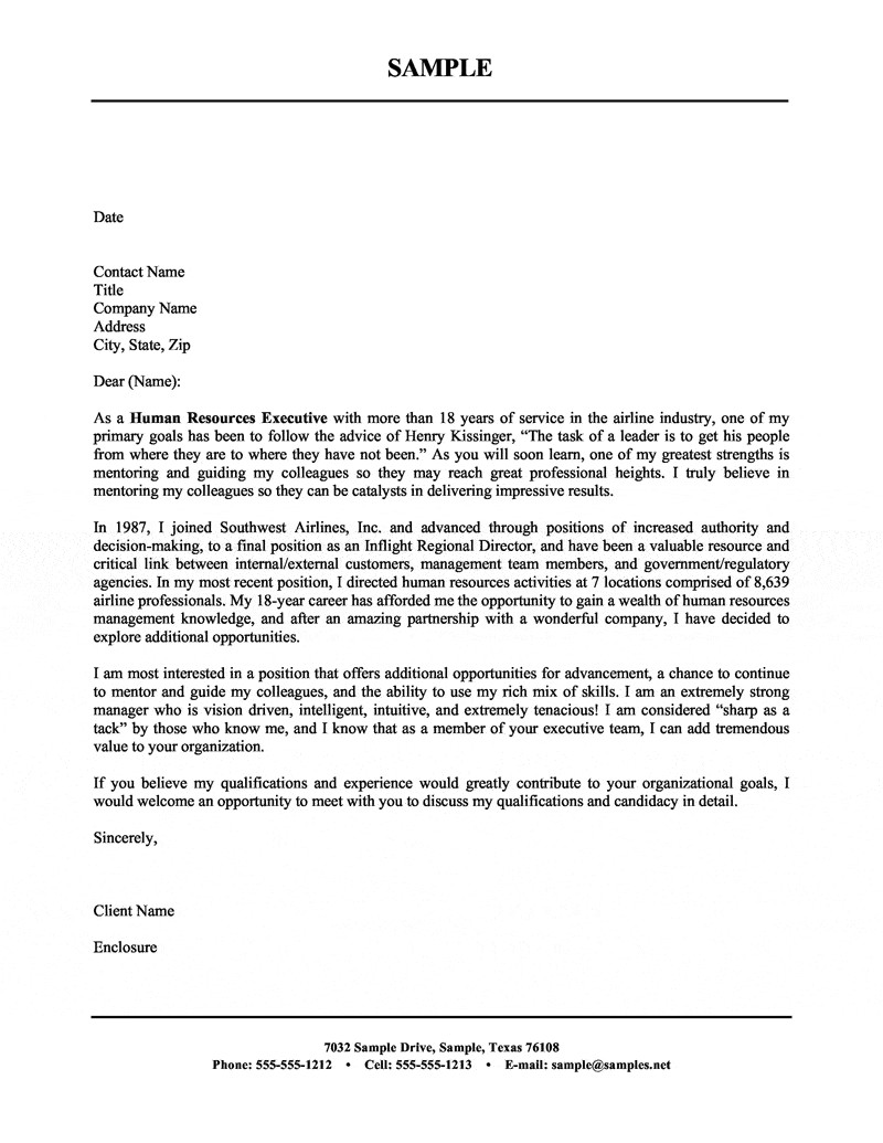 Cover Letter Examples for Human Resources Position Human Resources Executive Cover Letter