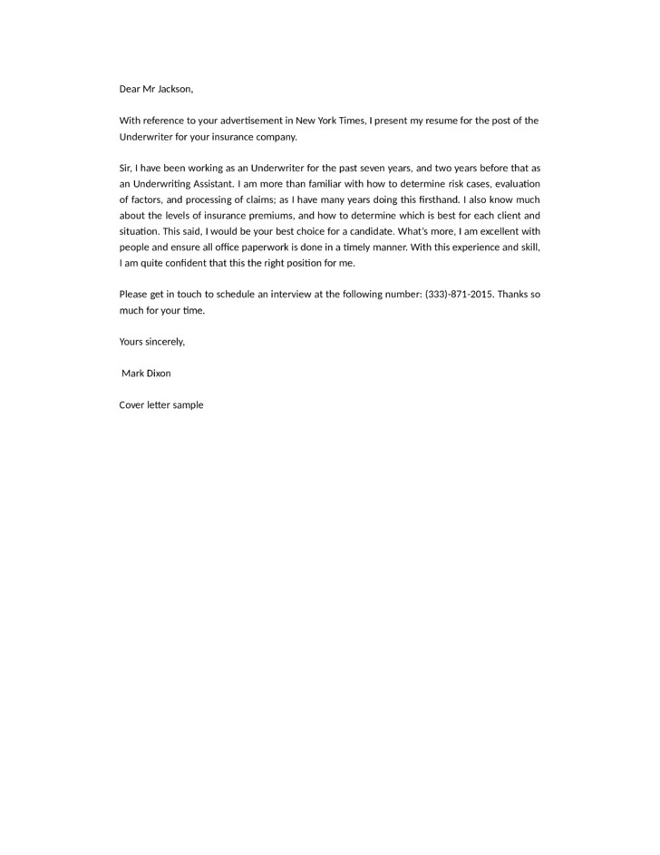 insurance company underwriter cover letter samples templates