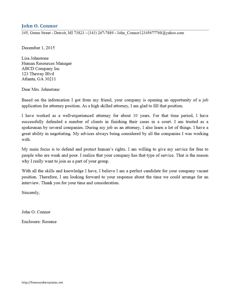 Cover Letter Examples for Lawyers attorney Cover Letter
