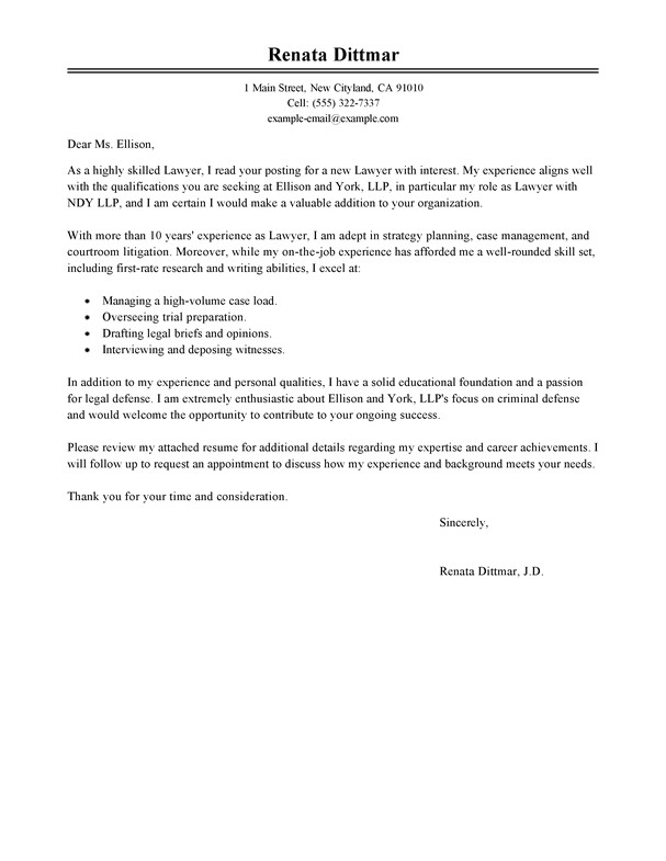 Cover Letter Examples for Lawyers Best Lawyer Cover Letter Examples Livecareer