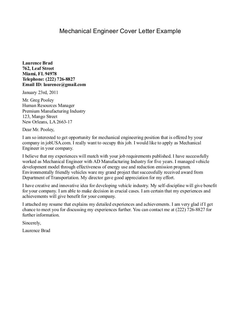 Cover Letter Examples for Mechanical Engineers Mechanical Engineer Cover Letter Example Http