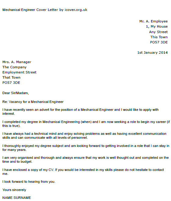 Cover Letter Examples for Mechanical Engineers Mechanical Engineer Cover Letter Example Icover org Uk