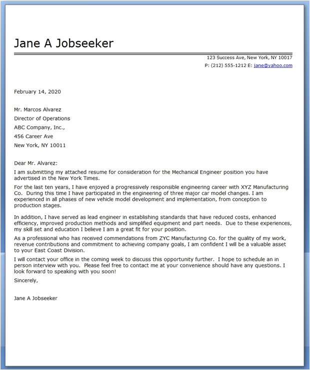sample cover letter mechanical engineer