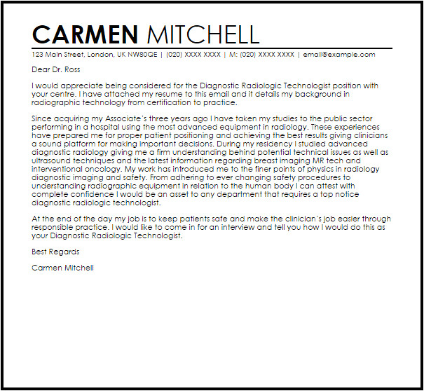 Cover Letter Examples for Radiologic Technologist Diagnostic Radiologic Technologist Cover Letter Sample