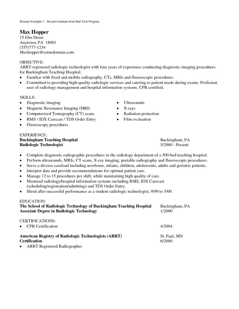 radiologic technologist cover letters