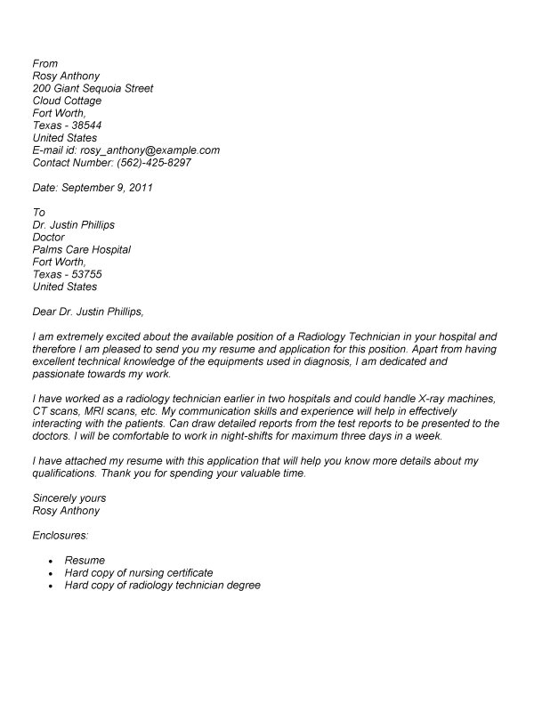 radiology tech cover letter sample
