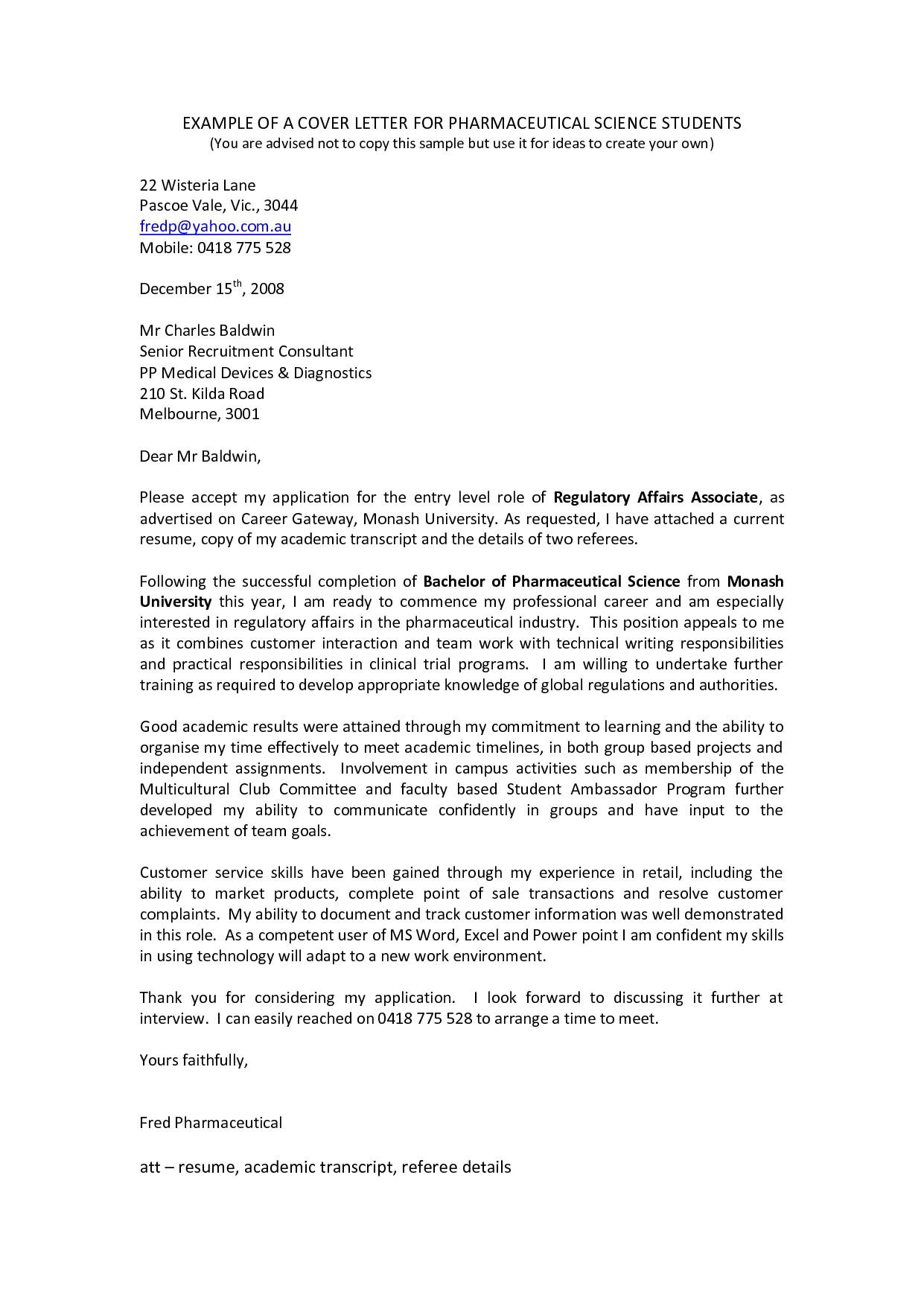 sample cover letter for scientist job