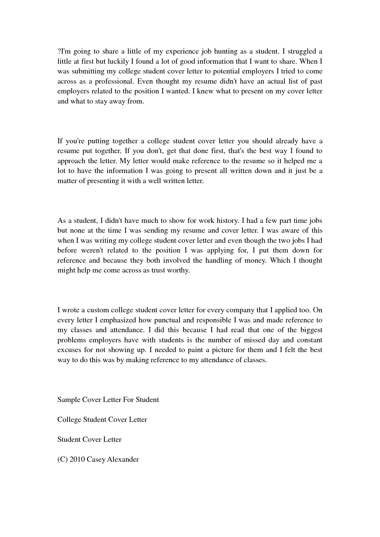 college student cover letter examples