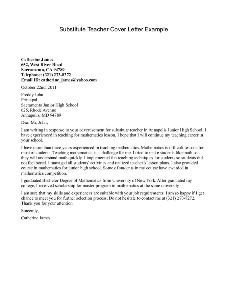 substitute teachers cover letter examples