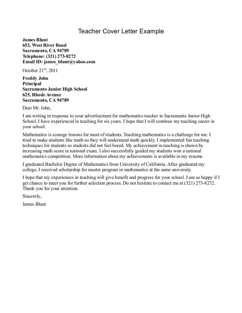 sample teacher cover letter format