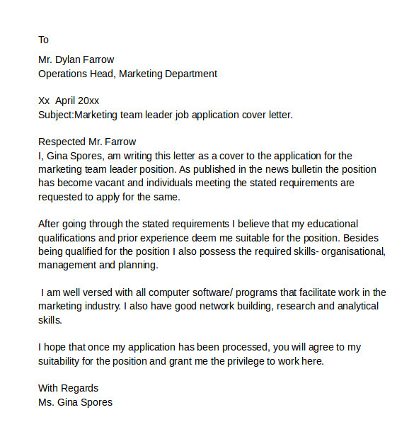 Cover Letter Examples for Team Leader Position 8 Sample It Cover Letter Samples Examples format