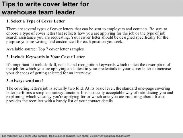Cover Letter Examples for Team Leader Position Warehouse Team Leader Cover Letter