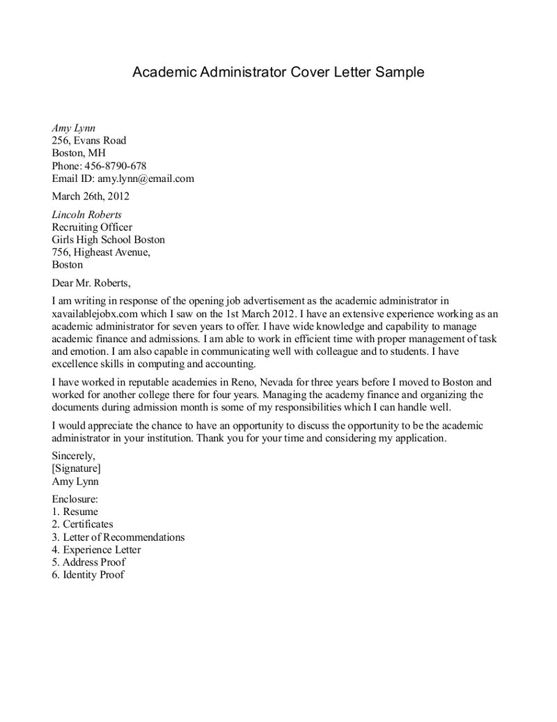 Cover Letter Examples for University Jobs Academic Cover Letter Sample Template Resume Builder