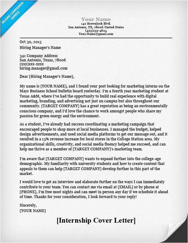 internship college student cover letter sample