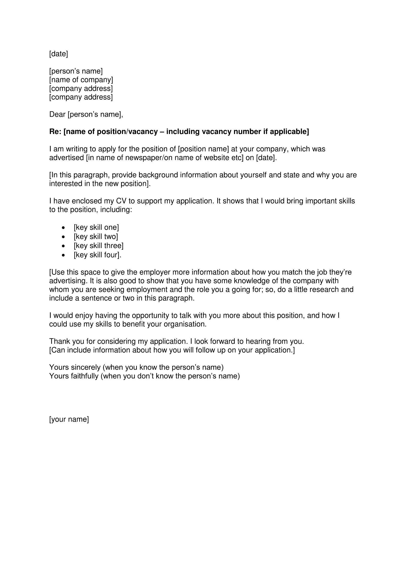 sample expression of interest letter for a position