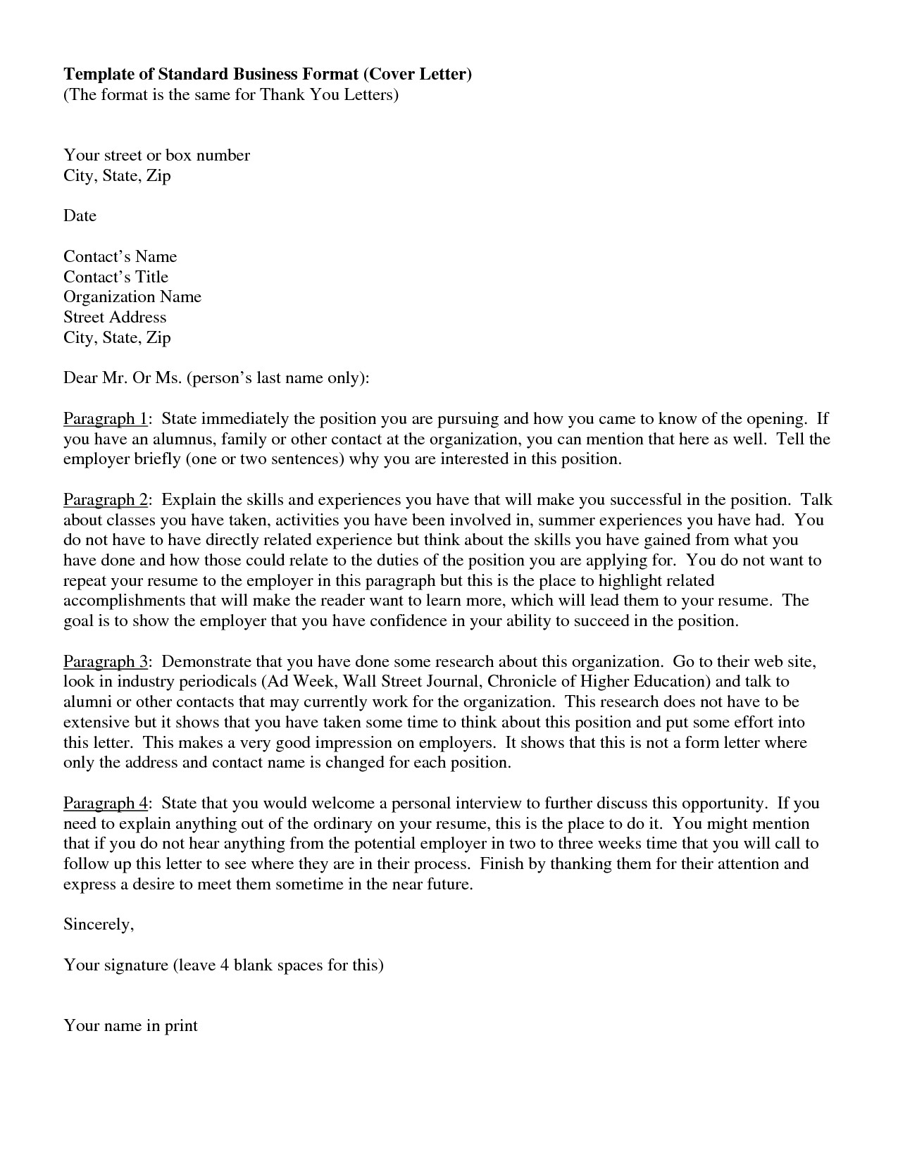 cover letter standard format