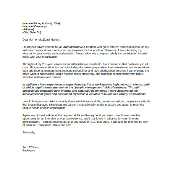 Cover Letter for A Administrative assistant Position 8 Sample Administrative assistant Cover Letter Templates