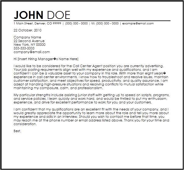 call center agent letter template