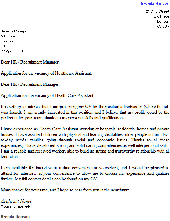 health care assistant cover letter example