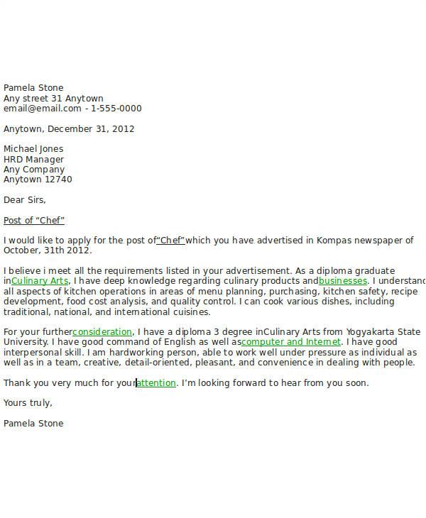 sample job application letter for chef