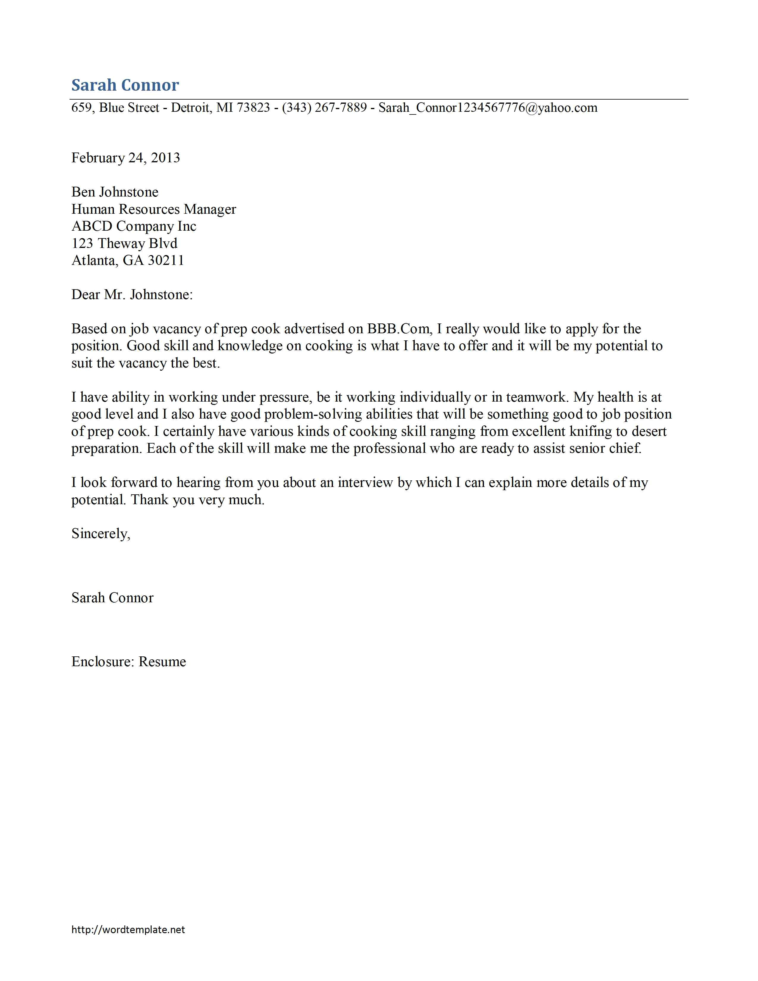 Cover Letter for A Cook Position Prep Cook Cover Letter Template