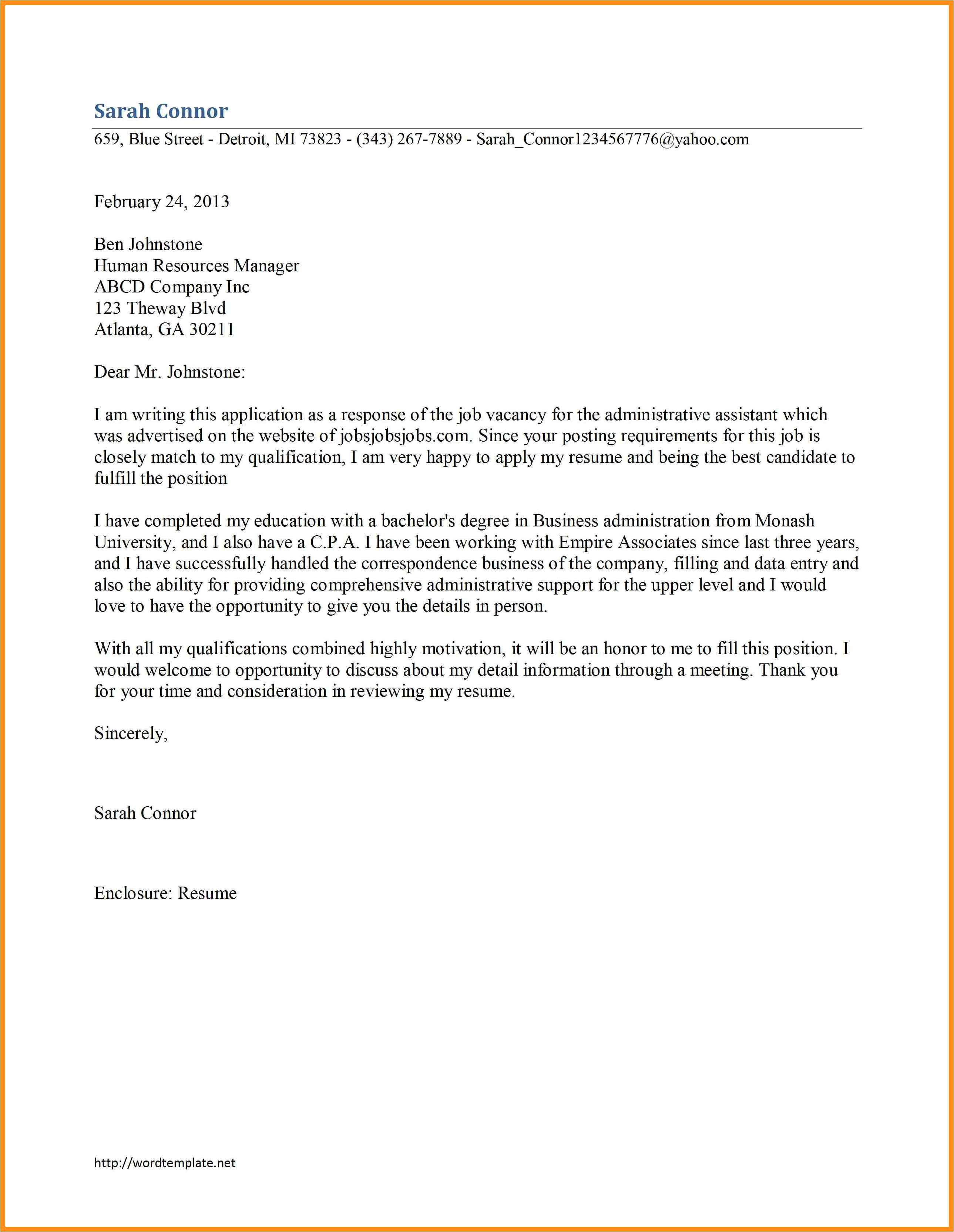job search cover letter sample